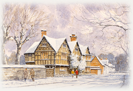 Hall's Croft at Christmas in Stratford-upon-Avon
